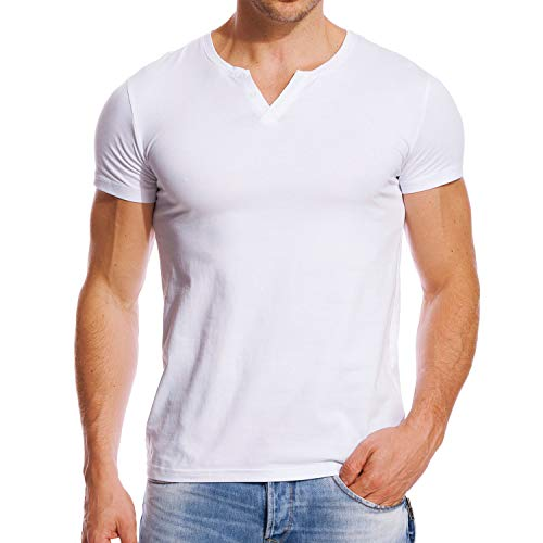 Zecmos Henley Shirts Mens Slim Fit Short Sleeve Summer Cotton Casual T-Shirt White L