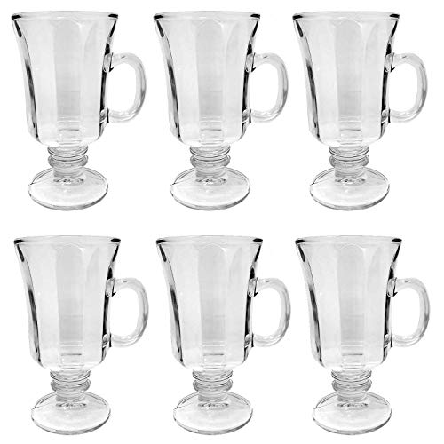 Set of 6 Thick Wall Glass Footed Irish Coffee Glass Mugs 8.25 oz. Cappuccinos, Mulled Ciders, Hot Chocolates, Ice cream and - Glass Set Coffee Irish