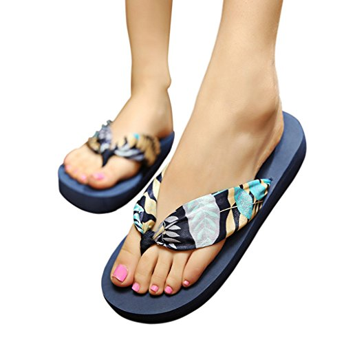 Womens Ladies Girls Bohemian Style Satin Silk Comfortable Thongs Casual Sandals Mid Heel Platform Shoes Summer Beach Flip Flops Slippers