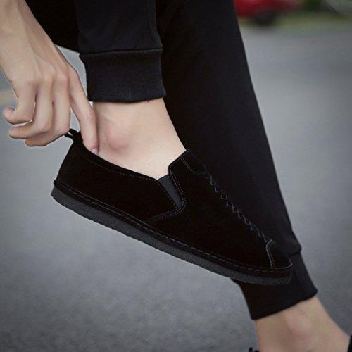 Anguang Hommes Slip On Loafers Mocassins Casual Chaussures Conduite Bateau Couleur Unie Noir CzLvpp
