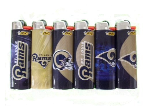 6pc Set BIC St Louis Rams NFL Officially Licensed Cigarette Lighters by BIC