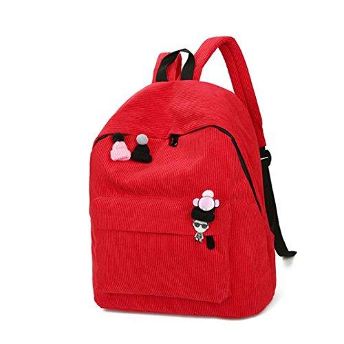 Goodsatar Mujeres Pana Mochila chica escuela Moda Bandolera Mochila bolsas de viaje (Amarillo) Rojo