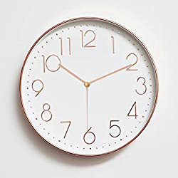 Foxtop 12 Inch Large Decorative Silent Wall Clock with Rose Gold Frame / Universal Non Ticking Modern Stylish Classic Quartz Round Clock