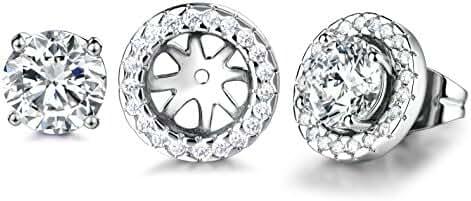 GULICX Silver Tone Fashion Women Lady Elegant Crystal Rhinestone Ear Stud Earrings