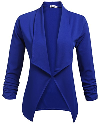 (Qearal Womens Solid Stretch 3/4 Gathered Sleeve Open Blazer Jacket (Blue, (US 12-14) Large))