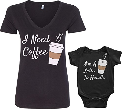Threadrock Coffee & Latte Infant Bodysuit & Women's V-Neck T-Shirt Set (Baby: 12M, Black|Women's: L, Black)]()
