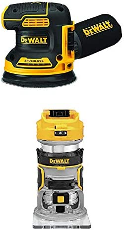 DEWALT 20V MAX Brushless Orbital Sander with Cordless Router, Tools Only DCW210B DCW600B