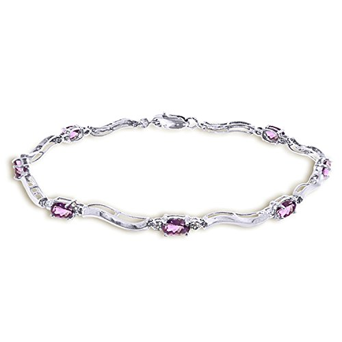14K Solid White Gold Tennis Bracelet with Diamonds & Amethyst by Galaxy Gold