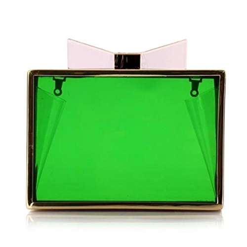 De Transparent Bags Clutch Sac Soirée à Noeud Paquet Dîner Green Main Robe Womens Papillon 56vw0qnwT