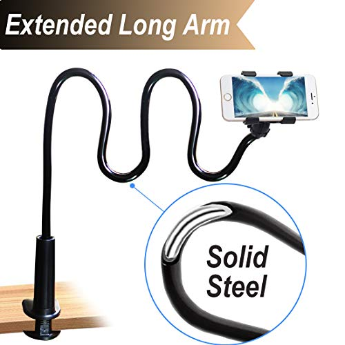(Cell Phone Clip On Stand Holder with Grip Flexible Long Arm Gooseneck Bracket Mount Clamp Compatible with iPhone X/8/7/6/6S Plus Samsung S8/S7, Used for Bed, Desktop, Black)