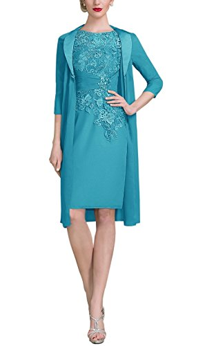 AlisaBridal Women's Spring High Neck Knee-Length Chiffon Lace Bodice Mother Of The Bride Dress With Jacket Formal Dress Jade 14