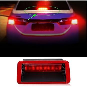 Qiilu Car Third Brake Light 5 LED 12V Universal Car High Mount Rear Third 3rd Brake Stop Tail Light Lamp Red