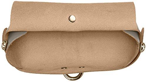 CTM Clutch bandolera para mujer, pequeno bolso con cinturon de hombro, piel genuina hecho en Italia - 18x11x9 Cm Gris (Fango)