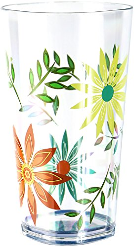 Corelle Coordinates by Reston Lloyd Happy Days Acrylic Square Tumbler Glasses, 19-Ounce, Set of ()