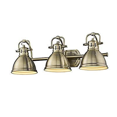 Golden Lighting 3602-BA3 AB-AB Duncan - Three Light Bath Vanity, Aged Brass Finish with Aged Brass Shade