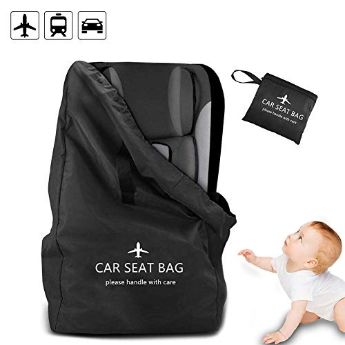 Car Seat Travel Bag, Xboun Ideal Gate Check Bag for Air Travel & Saving Money - 【Ultra Durable & Lightweight One Size】 Car Seat Bags Fits Car Seats, Infant Carriers & Booster (Black)
