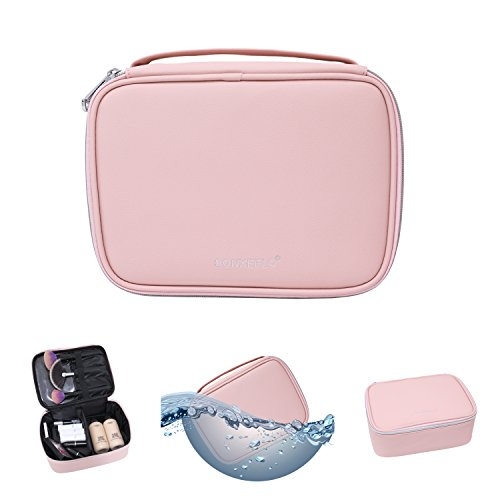Travel Makeup Bag, SONXEELO Women's Multifunction Portable Large PVC Cosmetic Bag(Pink / Black)