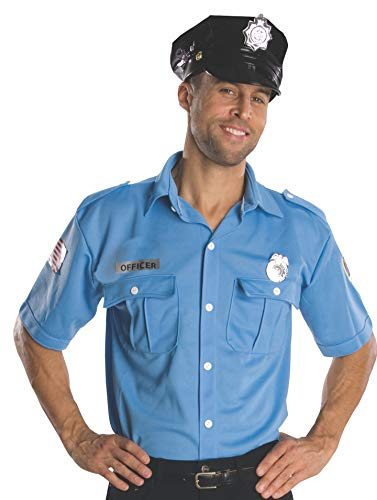 Rubie's Heroes And Hombres Adult Police Officer Shirt And Hat, Blue, -