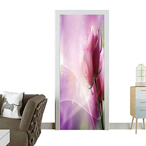 Door Sticker Wall Decals Roses Art Design Invitation Card Easy to Peel and Stick W23 x H70 INCH]()