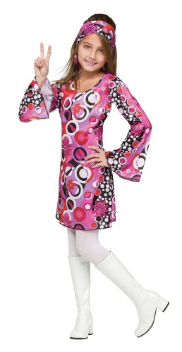 Girls 70's Costume - Feelin' Groovy Size (12-14 )