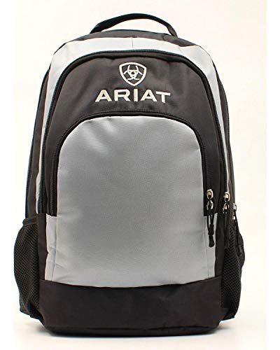 Ariat Unisex Black/Classic Grey Side Water Bottle Pockets Backpack Grey One (Ariat Black Water)