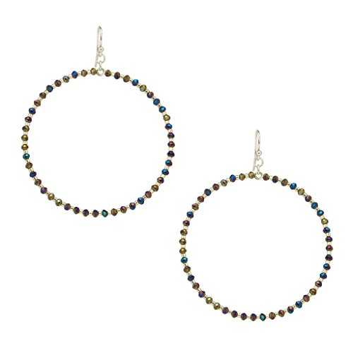 Chan Luu Silver Hoop Earrings with Twilight Crystals and Silver Seed Beads Chan Luu Silver Earrings