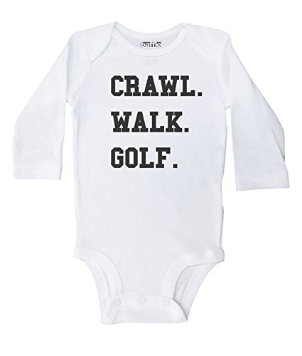 Baffle / Crawl. Walk. Golf. White Long Sleeve Cotton Onesie - Funny Onesies (6 mo)