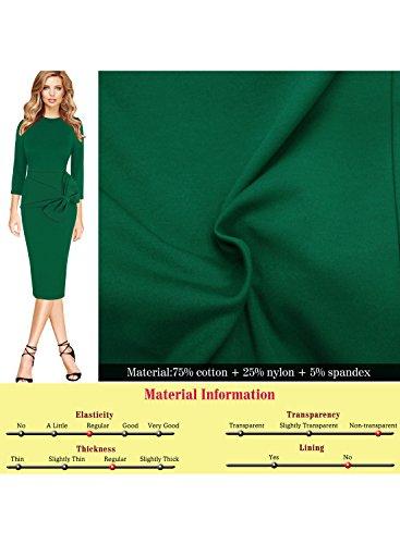 Elegant Green Cocktail Midi Sheath Womens VfEmage Work Bow Formal Party Dress BpPfZw5q