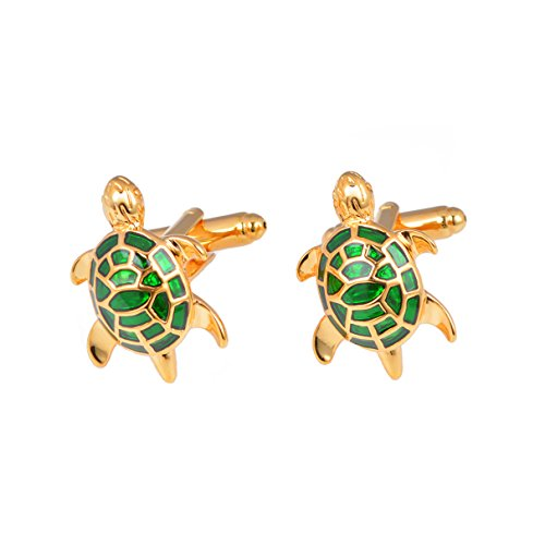 Green Turtle Cufflinks Gold Plated for Men Tortoise Cuff Links Business Party Wedding Shirt - Gold Green Cufflinks Plated