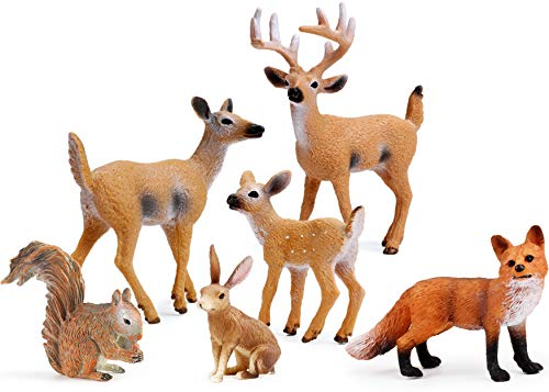 (UANDME Forest Animals Figures, Woodland Creatures Figurines, Miniature Toys Cake Toppers)