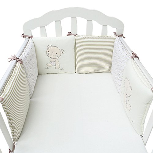 Xianheng Cotton Baby Crib Bumper 6PCs Cot Bed Cradle Protector Bedding Set Beige