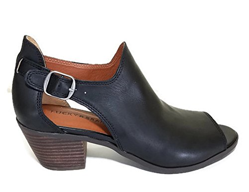 Lucky Brand Bannah Peep Toe Open Ankle Bootie Womens Black Leather Shoe NdyqoIx