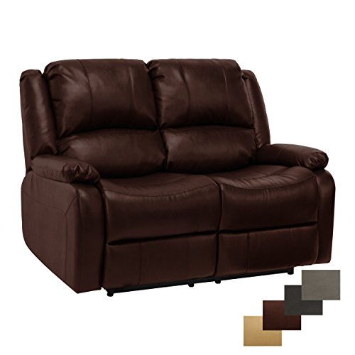 """RecPro Charles Collection   58"""" Double Recliner RV Sofa   RV Zero Wall Loveseat   Wall Hugger Recliner   RV Theater Seating   RV Furniture   RV Living Room (Slideout) Furniture   Mahogany"""