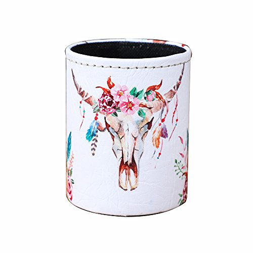 LINKWELL Fashion Cow Skull Design PU Leather Pencil Pen Holder Desk Organizer PH32