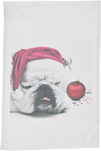 Pillow Bulldogs Santa (3dRose fl_62826_1 Sleeping Bulldog in a Santa Hat Christmas Card Photo Courtesy of Esther Matheus Garden Flag, 12 by 18-Inch)