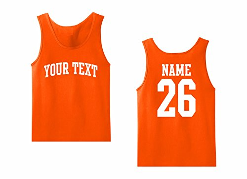 (Men's Tank Top Custom Personalized T-shirt, Front Arched text, Back Name & Number)