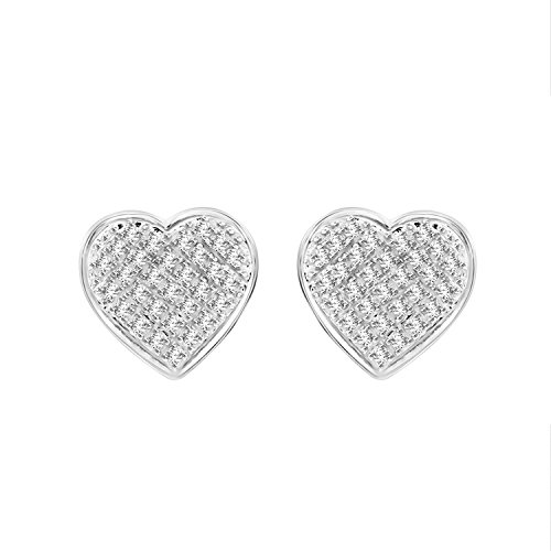 Round Diamond Heart Cluster Unisex Stud Yuva Earrings in Sterling Silver (1/4 cttw, I-J Color, I2-I3 -