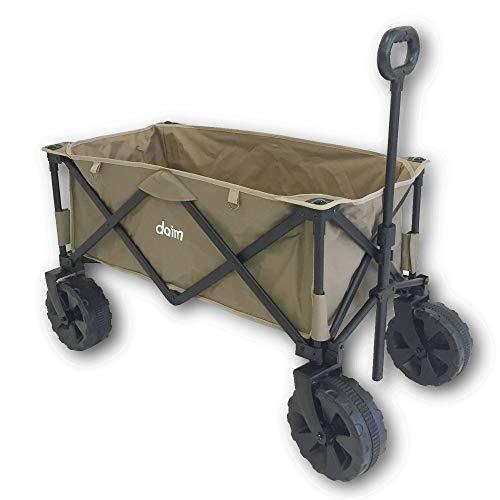 [5 월 한정 특가] DAIM 야외 캐리 왜건 ★ 접이식 운반 카트 4 륜 대형 타이어 하중 약 100kg 대용량 모래 사장도 자갈도 부쩍 달릴 넓은 타이어