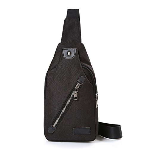 Price comparison product image Chest Bag, Hometom Canvas Unbalance Backpack Crossbody Shoulder Bag Chest Bag (Black)