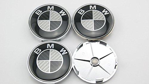 Angel Mall BMW 68mm Outer Diameter Carbon Fiber Black Wheel Center Hub Caps C...