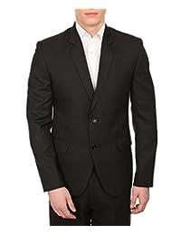 Wintage Men's Merino Wool Blend Notch Lapel Black Pin Stripe Blazer:Two Colors