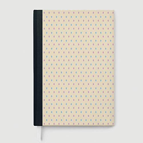 (Thick Notebook/Journal,Polka Dots,Case Bound Notebook,Retro Polka Dots Small Coin Sized Little Spots Old Epochs Fashion Pattern,96 Ruled Sheets,A5/8.24x5.73)