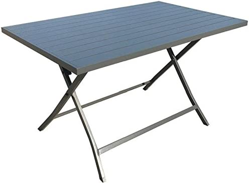 Tavoli Pieghevoli In Alluminio.Tavolo Da Giardino Pieghevole Alluminio 130x77 Antracite Lerici
