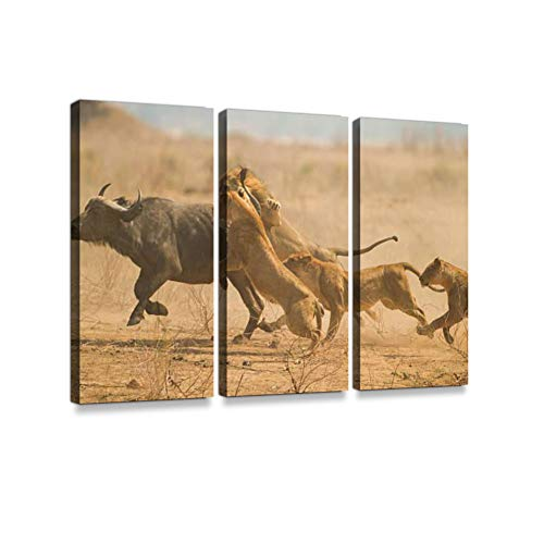 The Chase Print On Canvas Wall Artwork Modern Photography Home Decor Unique Pattern Stretched and Framed 3 Piece