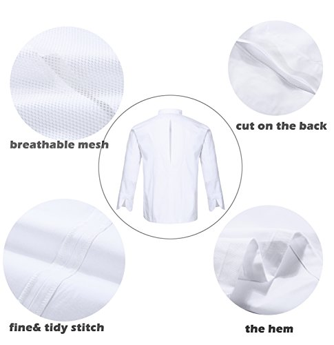 Nanxson(TM Kitchen Cotton Uniform Roll-up Sleeve Chef Working Coat with Air Mesh CFM0028 (White, L) by Nanxson (Image #2)