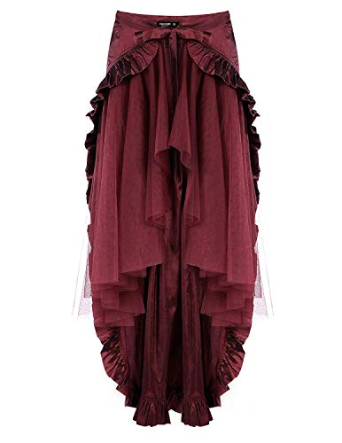 CHICIRIS Christmas Costumes Overbust Corset Maxi Skirt for Women Pirate Style Wine Red Size L -