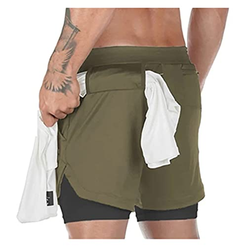 LSTGJ Sport Shorts Mannen Double-deck Running Shorts Mannen 2 IN 1 Fitness Workout Korte Broek Man (Kleur: Legergroen…