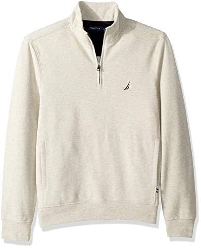 Nautica Men's Long Sleeve Half Zip Mock Neck Sueded Fleece Sweatshirt, Oatmeal Heather, Medium