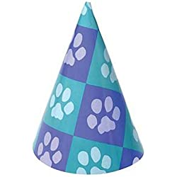 Dozen Paw Print Design Paper Party Hats With Chin Straps