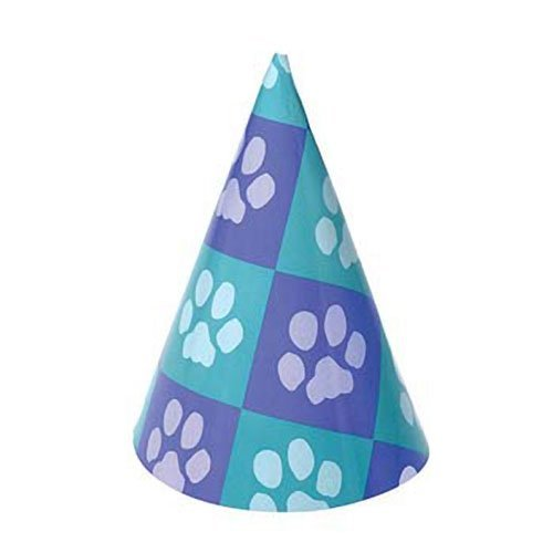 Dozen Paw Print Design Paper Party Hats With Chin Straps (With Hat Dog)